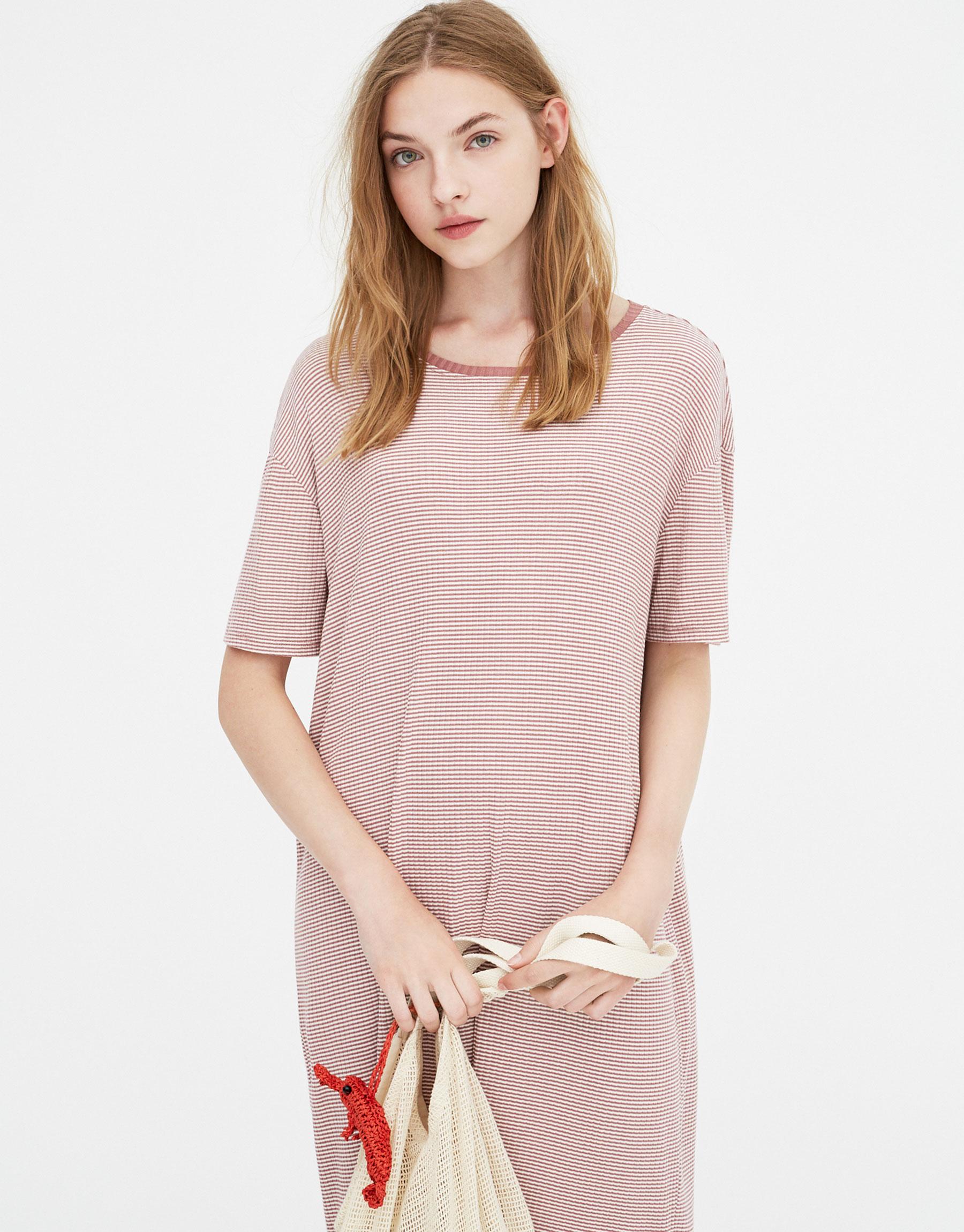 Imagen principal de producto de Vestido midi básico rayas - Pull & Bear