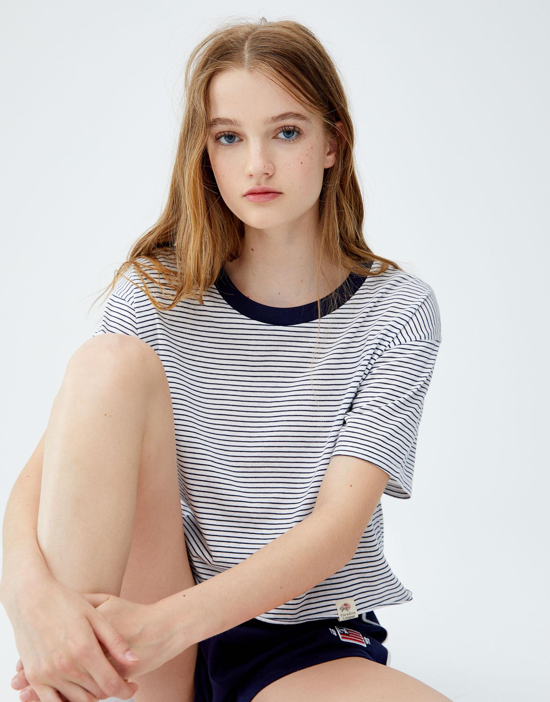 Imagen principal de producto de Camiseta rib ancho - Pull & Bear