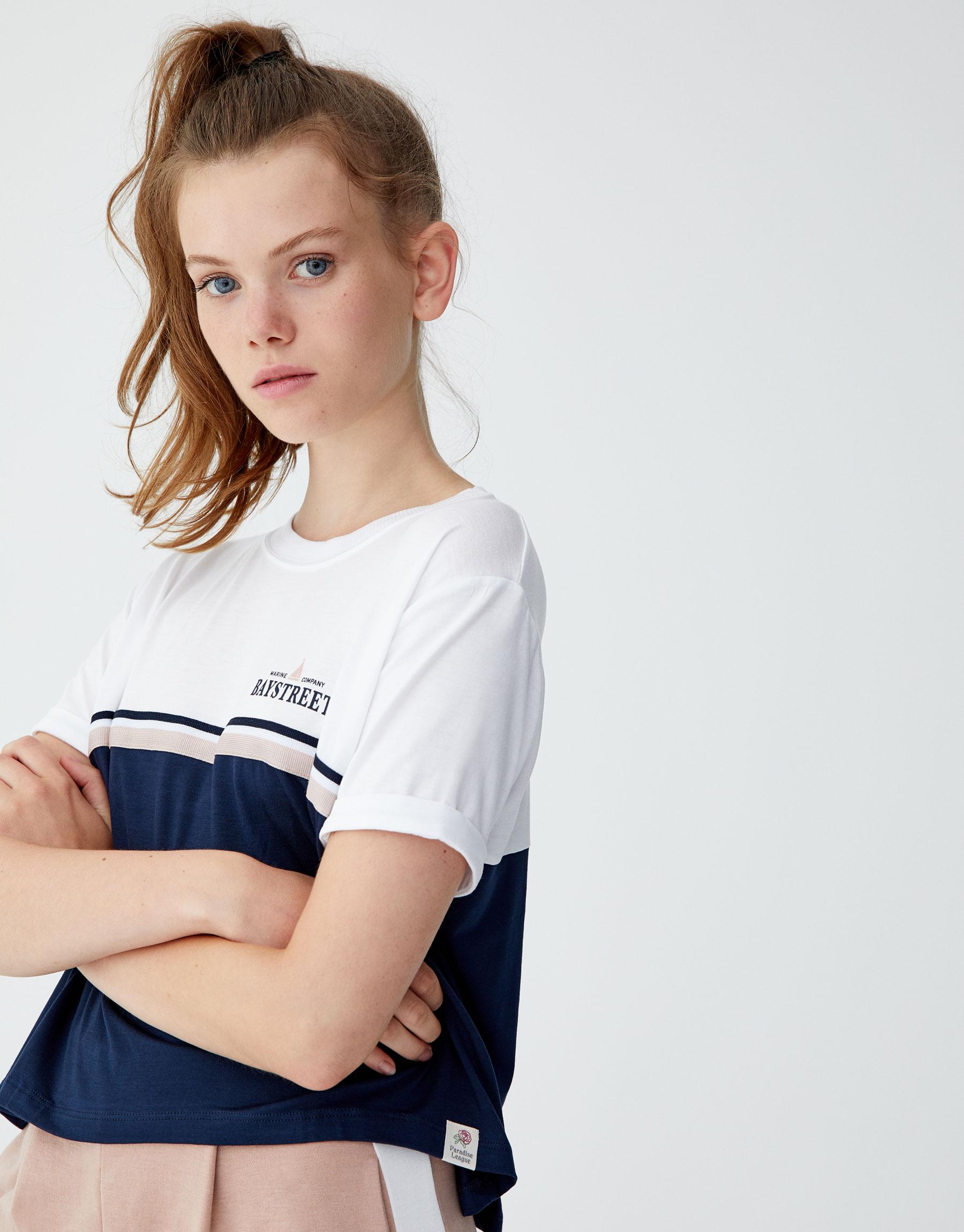 Imagen principal de producto de Camiseta panel cinta texto - Pull & Bear