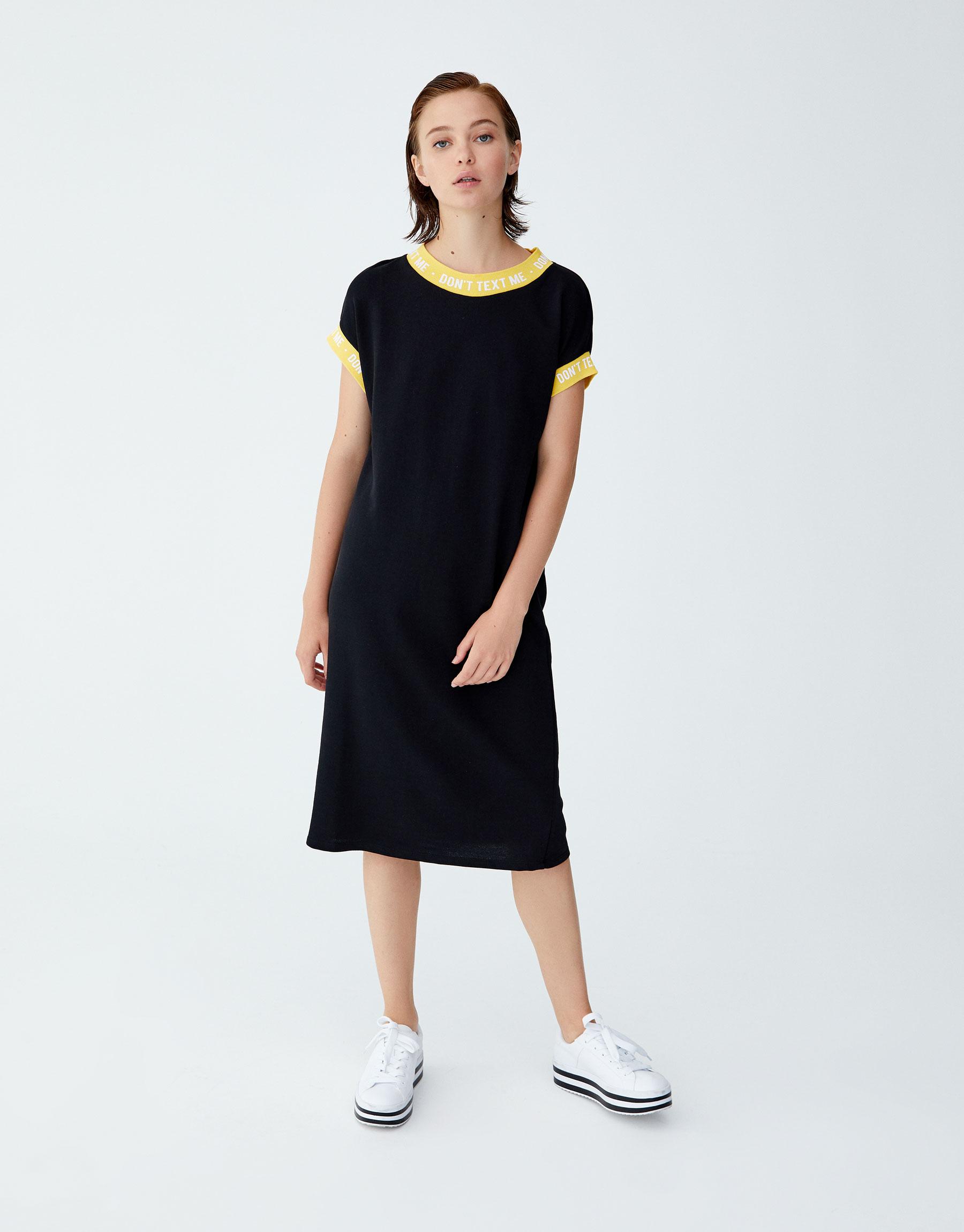 Imagen principal de producto de Vestido deportivo rib texto - Pull & Bear