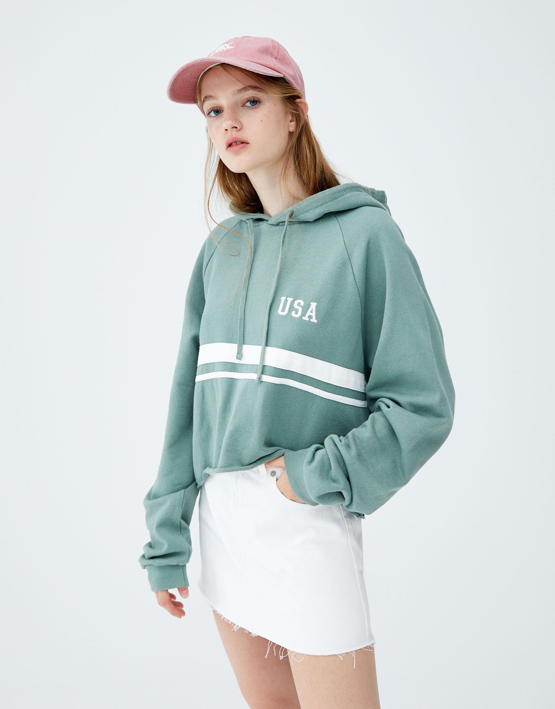Imagen principal de producto de Sudadera capucha franja verde - Pull & Bear