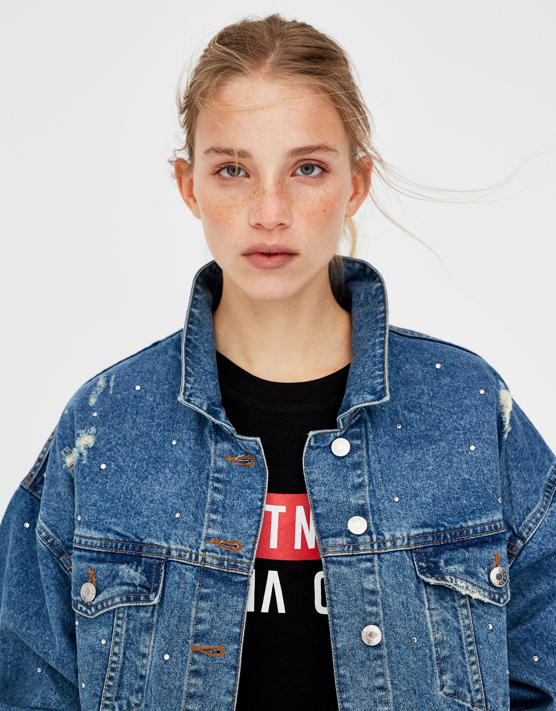 Veste en jean à brillants
