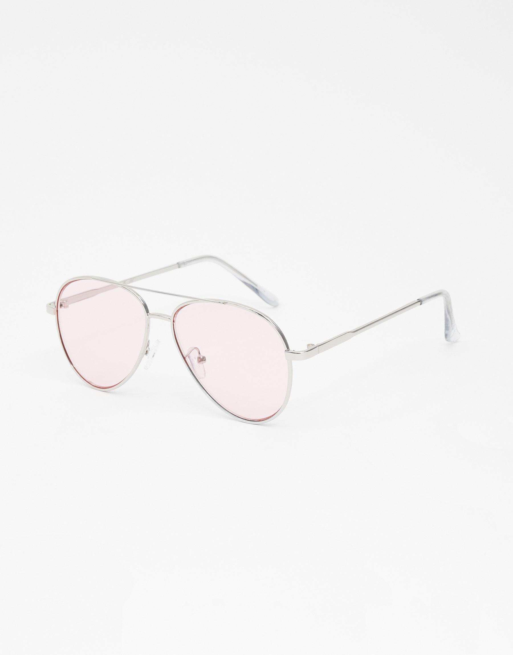 Imagen principal de producto de Gafas de sol estilo aviador lentes rosas - Pull & Bear