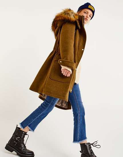 Furry hooded cloth parka