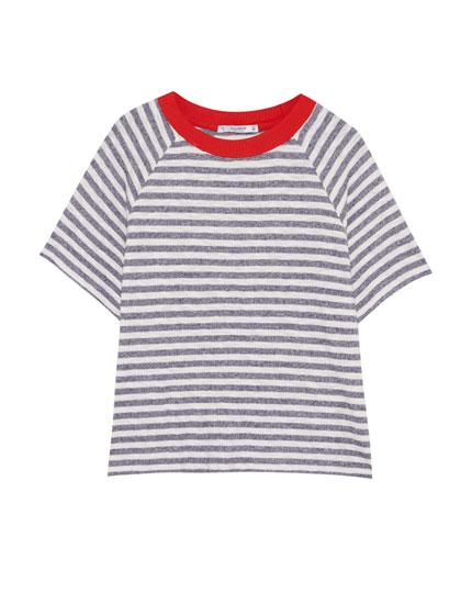 Striped T-shirt with raglan sleeves