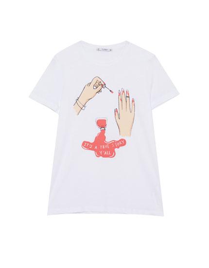 Nail polish print T-shirt