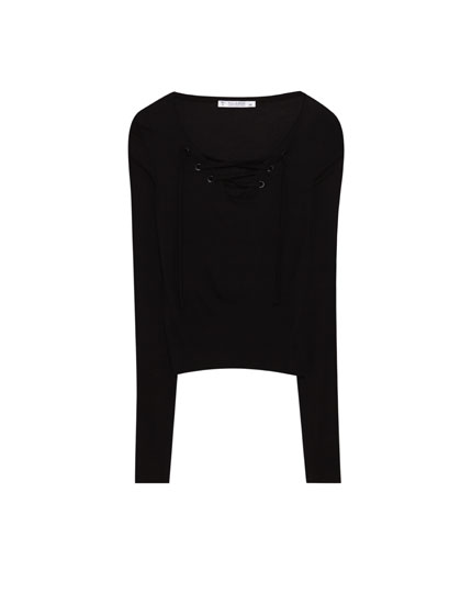 Long sleeve T-shirt with lace-up tie detail