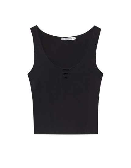 Sleeveless T-shirt with lace-up neckline