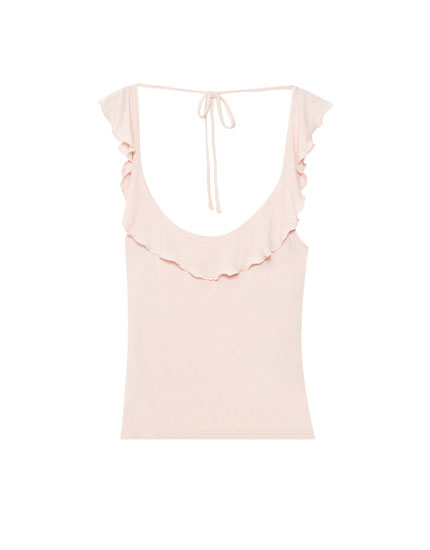 T-shirt with ruffle trim and back bow detail