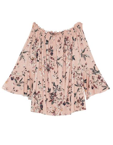 Off-the-shoulder floral print blouse