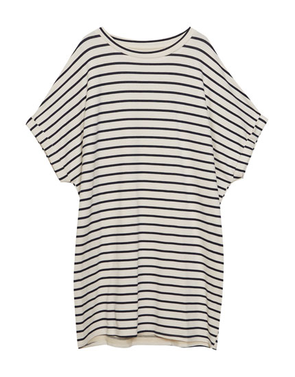 Striped cocoon dress with rolled-up sleeves