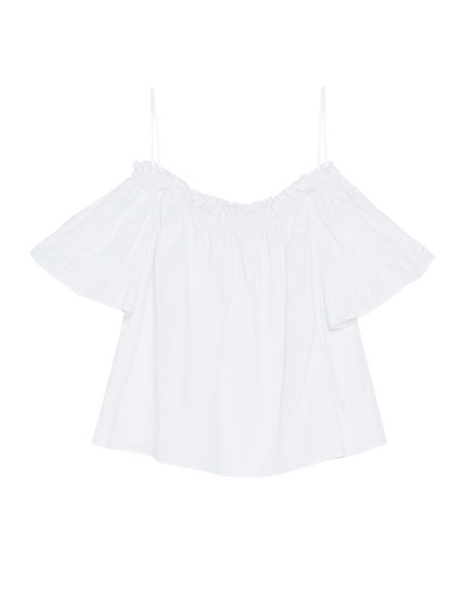 Ruffled sleeve top with elastic neckline