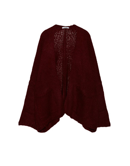 Square cut cardigan with pockets