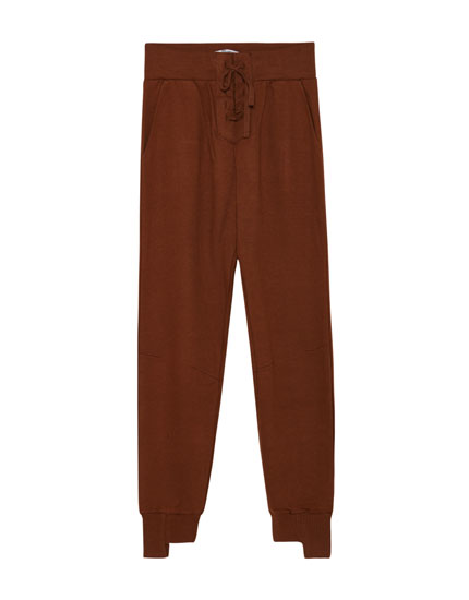 Jogger trousers with corset waist