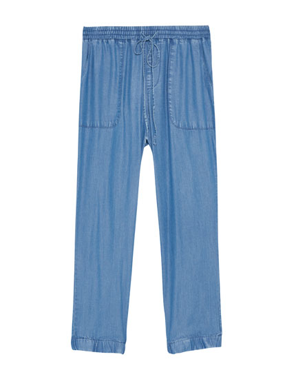 Loose-fitting denim jogging trousers