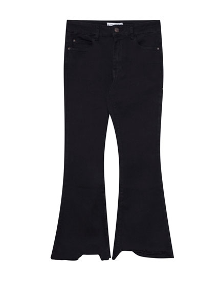 Kick flare fit jeans with rips