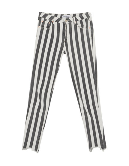 Striped skinny trousers with frayed hems