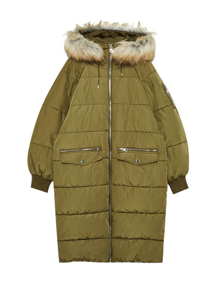 Long quilted parka with faux fur hood