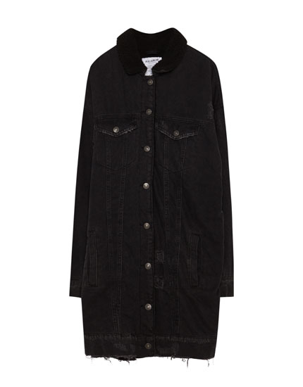 Denim jacket with faux-shearling-lined collar