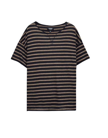Sweater-style T-shirt with nautical stripes