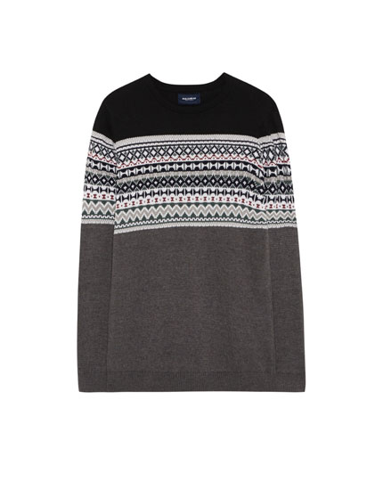 Earth brown jacquard sweater