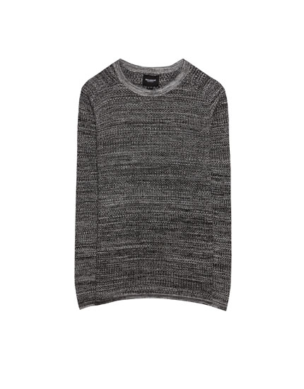 Round neck flecked sweater