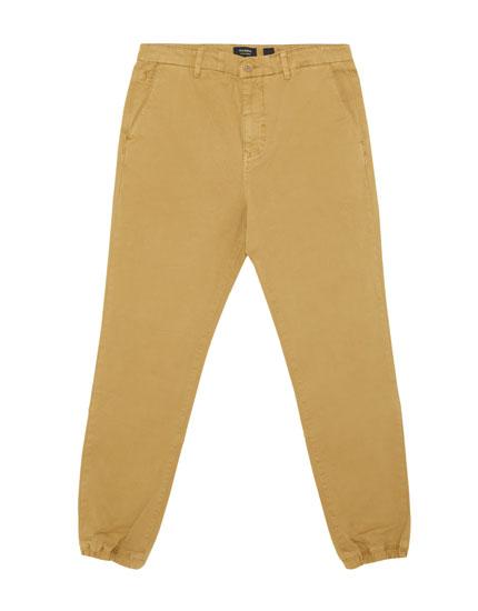 Chino trousers with cuffed hem