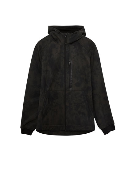 Printed technical jacket with hood
