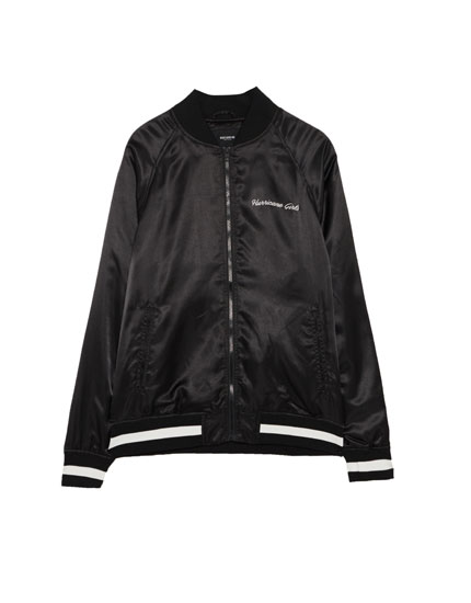 Sateen bomber jacket with printed back