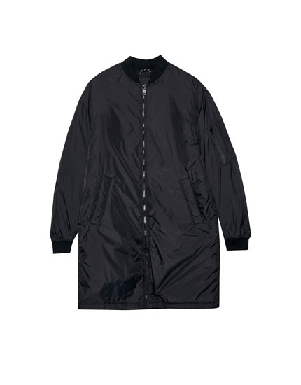 Long quilted bomber jacket