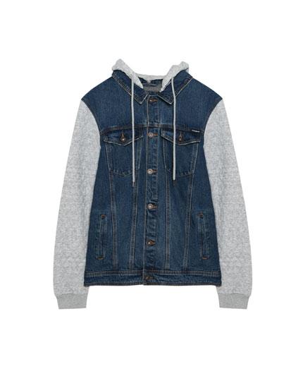 Denim jacket with contrasting hood