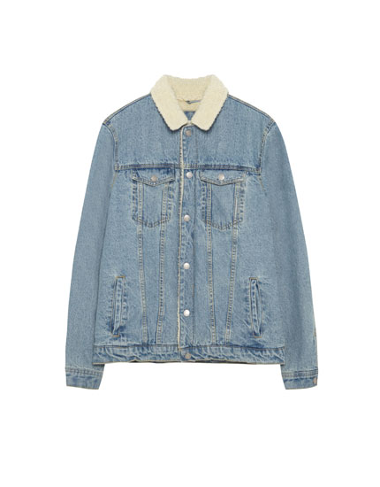 Sherpa denim jacket with embroidered back