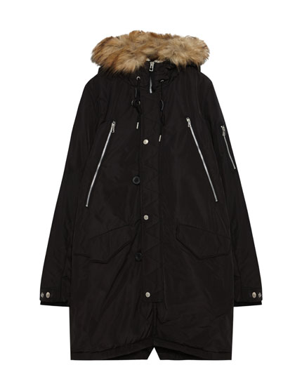Faded-effect parka with faux shearling lining