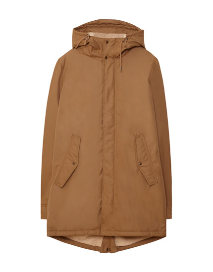 Hooded parka with faux shearling lining