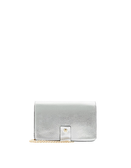 Silver crossbody bag with fastener detail