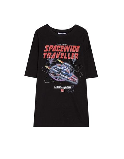Basic space print T-shirt
