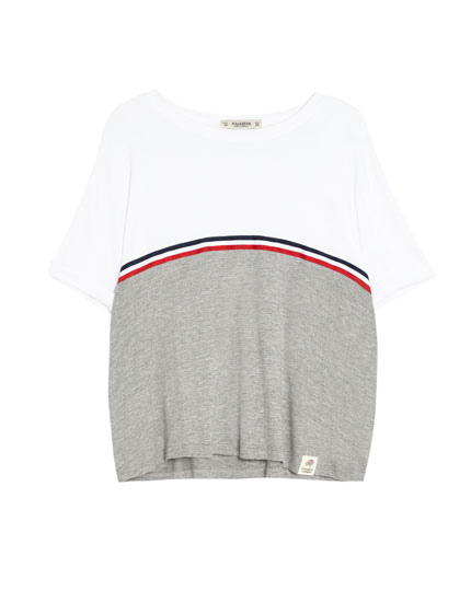 Colour block T-shirt with stripes