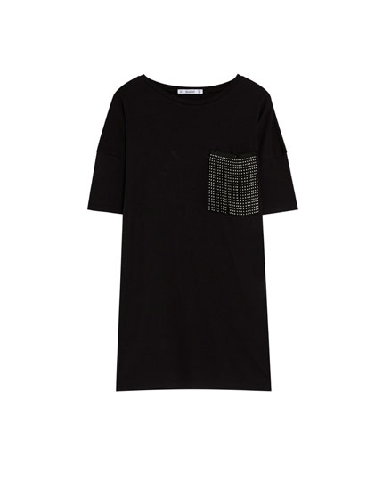 T-shirt with fringed pocket