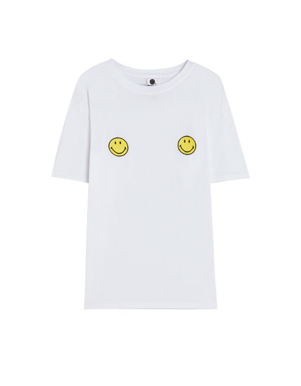 T-shirt with smiley faces