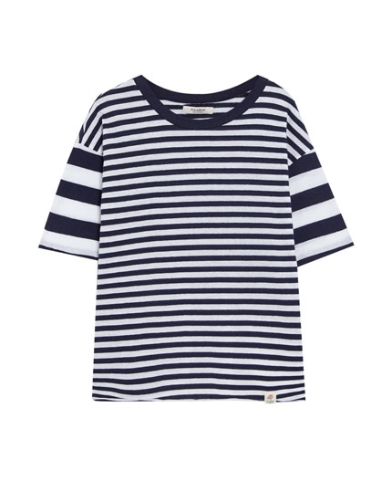 T-shirt with mixed stripes