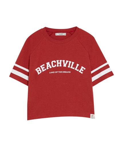 Cropped college T-shirt