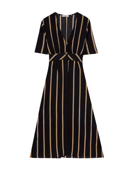 Long V-neck striped dress