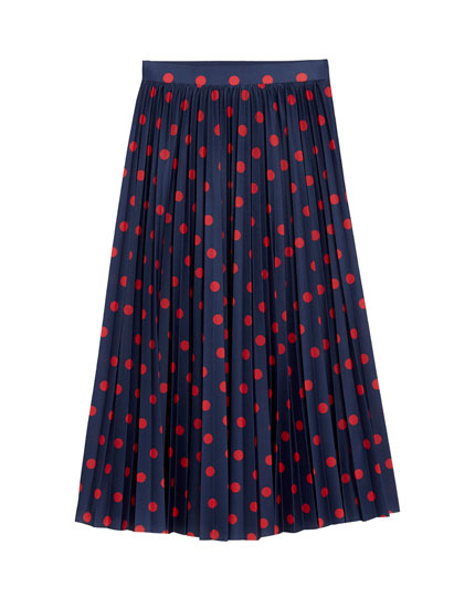 Pleated skirt with polka dot print