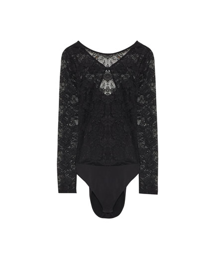 Lace bodysuit with an open back