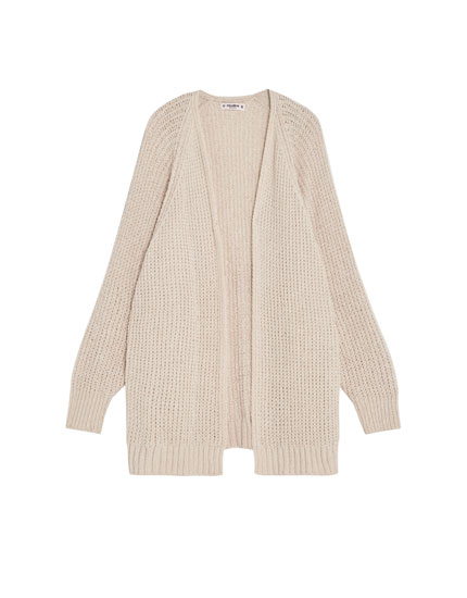 Chenille cardigan with batwing sleeves
