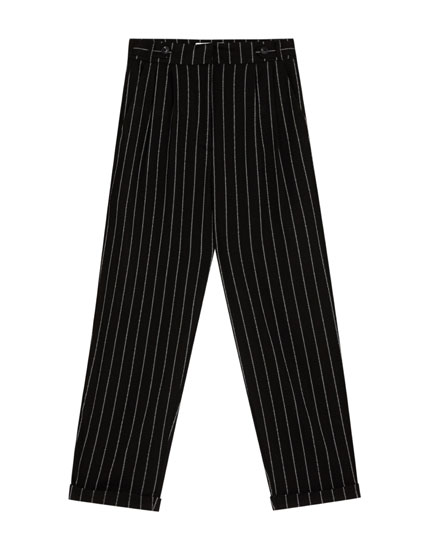 Striped tapered fit trousers