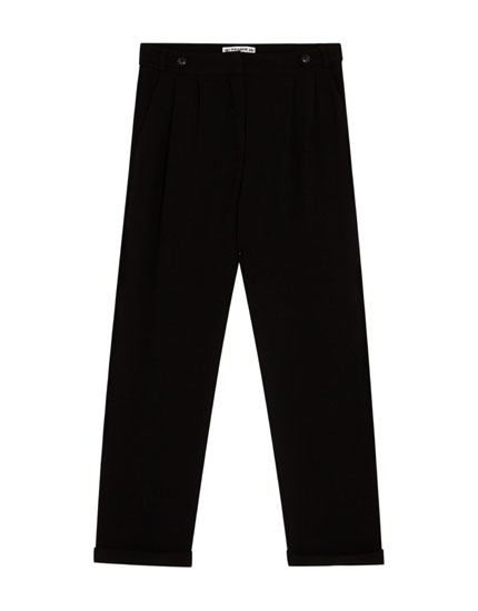 Plain tapered fit trousers