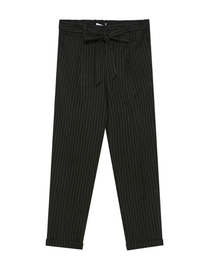 Pinstriped paperbag trousers