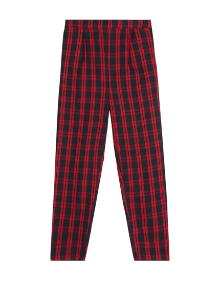 Red checked jogging trousers