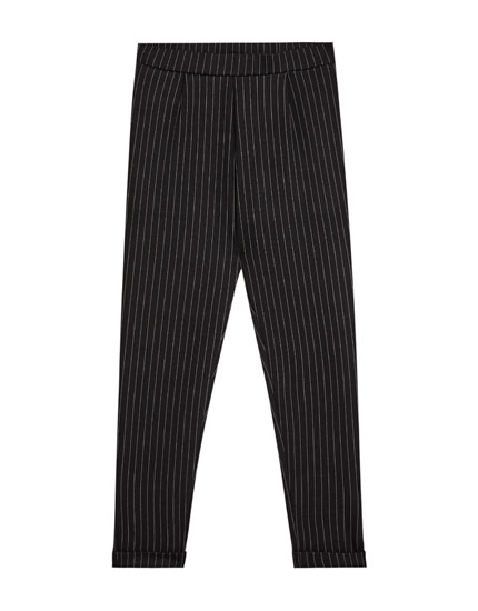 Tailored pinstriped trousers